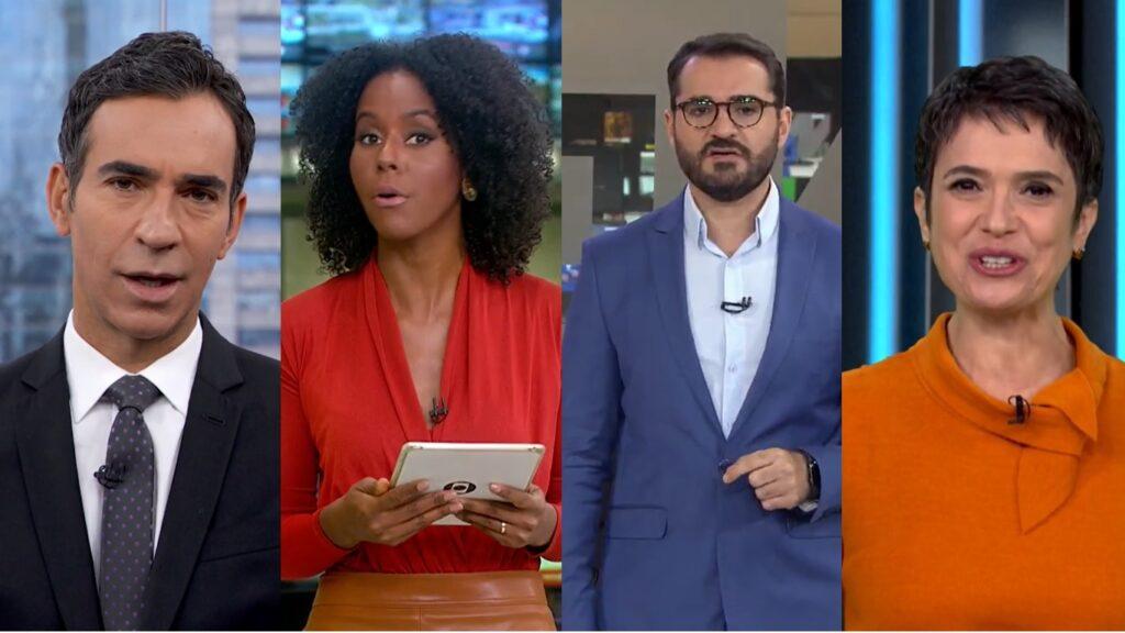 César Tralli, Maju Coutinho, Marcelo Cosme e Sandra Annenberg são os alvos da próxima onda de mudanças na Globo (foto: Reprodução/TV Globo e GloboNews)