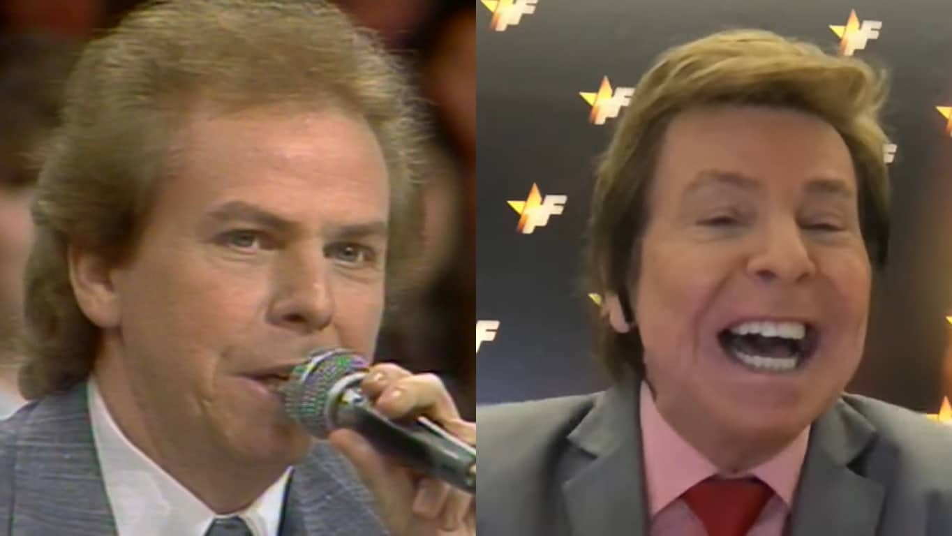Nelson Rubens em 1989, no Show de Calouros, e em 2021, no TV Fama (foto: Reprodução/SBT e RedeTV!)