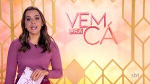 Lívia Raick foi a responsável pelo único bloco ao vivo do Vem Pra Cá em 21 de maio (foto: Reprodução/SBT)