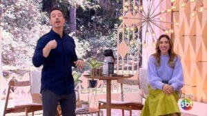 Gabriel Cartolano e Patricia Abravanel no Vem Pra Cá de 10 de maio: dupla se aproximou da Record (foto: Reprodução/SBT)
