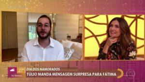 Túlio Gadelha, namorado de Fátima Bernardes, causou constrangimento na apresentadora (foto: Globo/Reprodução)