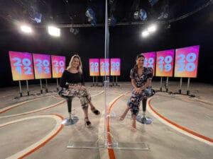 Fernanda Gentil e Fátima Bernardes; apresentadora do Encontro ganha homenagem pelos nove anos do programa (foto: Globo/Caio Coutinho)