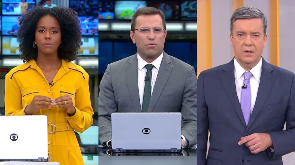 Os apresentadores Maju Coutinho, Rodrigo Bocardi e Roberto Kovalick; telejornais da Globo perdem a liderança (foto: Reprodução)