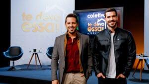 O apresentador Dony De Nuccio e o arquiteto Renato Mendonça na coletiva do reality Te Devo Essa! Brasil (foto: Beatriz Nadler/SBT)