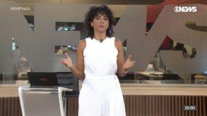 Aline Midlej está fora do ar desde 4 de junho, quando comandou o Em Pauta (foto: Reprodução/GloboNews)