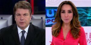 Augusto Xavier e Millena Machado são os novos apresentadores do RedeTV! News (fotos: Reprodução/RedeTV! e TV Globo)