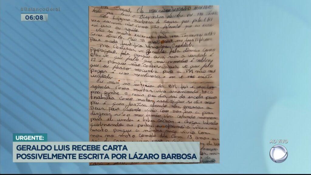 Record exibiu suposta carta de Lázaro Barbosa para Geraldo Luís (foto: Reprodução/Record)