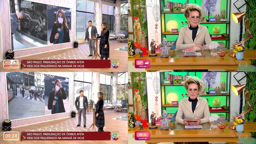 Novo visual do Vem Pra Cá foi copiado do Mais Você (foto: Reprodução/SBT e TV Globo)