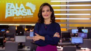 Fabiana Oliveira apresentou o Fala Brasil; telejornal foi líder de audiência em cinco praças (foto: Reprodução/Record)