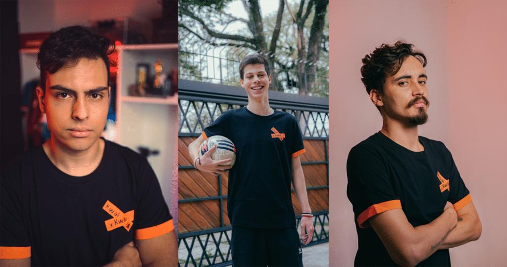 Alan, João Pedro e Tutti são os finalistas do reality show Microfone Aberto, que vai escolher o novo comentarista do programa Jogo Aberto (foto: Kwai/Felipe Gabriel)