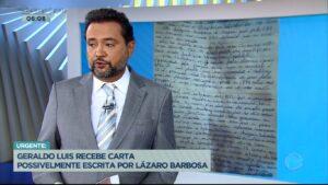 Geraldo Luís leu suposta carta de Lázaro Barbosa durante o Balanço Geral (foto: Reprodução/Record)