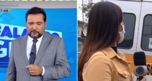 Geraldo Luís impediu que a repórter Paola Vianna fosse atropelada por uma van (foto: Reprodução/Record)