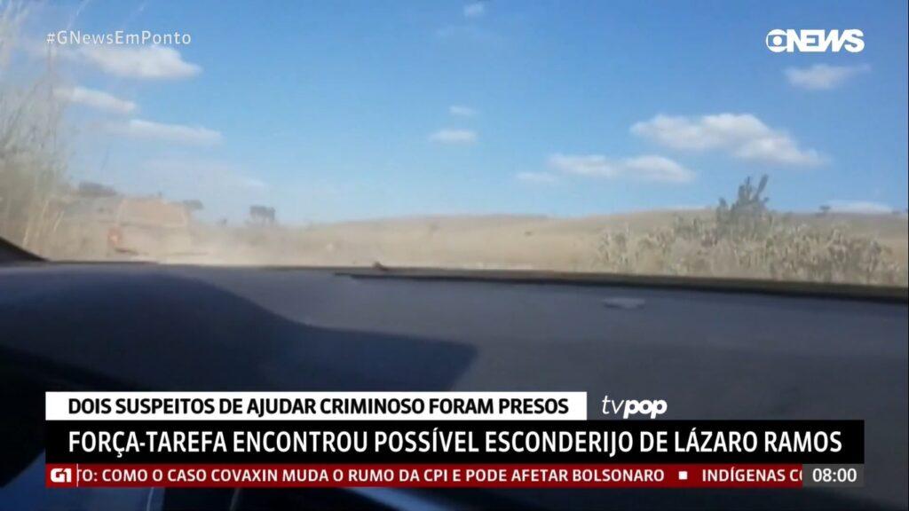 Em Ponto anunciou que polícia teria encontrado esconderijo de Lázaro Ramos (foto: Reprodução/GloboNews)
