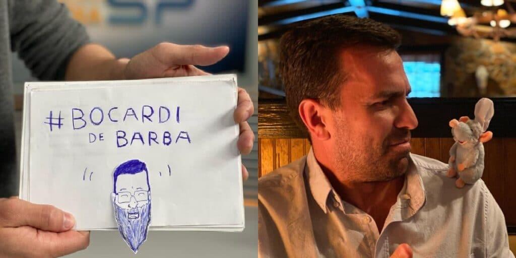 Após apelos de colegas de trabalho, Rodrigo Bocardi se inspirou em Bonner e apareceu de barba (foto: Reprodução/TV Globo e Internet)
