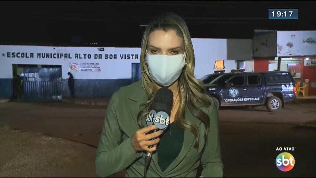 Vanessa Vitória foi atacada por um pitbull enquanto gravava uma reportagem (foto: Reprodução/SBT)