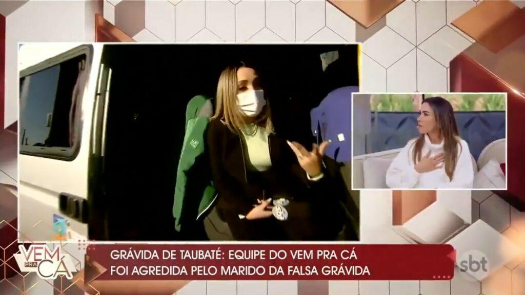 Uma equipe de reportagem do SBT foi agredida durante reportagem sobre a grávida de Taubaté (foto: Reprodução/SBT)
