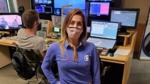 Daniele Hypolito nos bastidores da Globo; ela é comentarista dos canais SporTV nos Jogos Olímpicos de Tóquio (foto: Reprodução)
