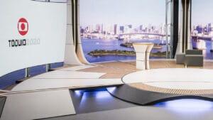 Estúdio da Globo no Rio de Janeiro para a transmissão dos Jogos de Tóquio (foto: Globo/João Cotta)