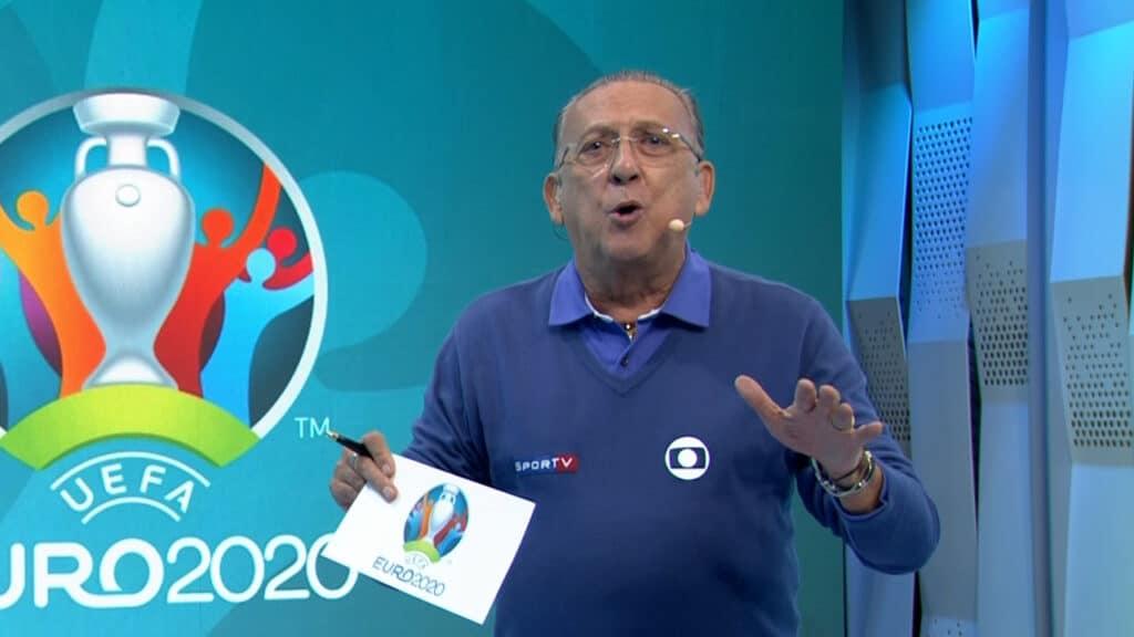 Galvão Bueno não gostou de ter que encerrar a transmissão às pressas (foto: Reprodução/Globo)