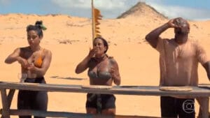 Participantes do No Limite tiveram que comer larvas e baratas na prova da comida (foto: Reprodução/Globo)