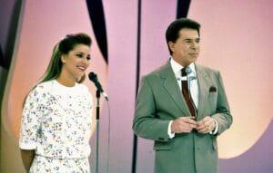 A atriz Gabriela Rivero e Silvio Santos no Show de Calouros (foto: SBT/João Batista da Silva)