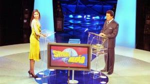 Luciana Gimenez e Silvio Santos durante a gravação de uma edição especial do Show do Milhão (foto: João Batista da Silva/SBT)