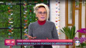 Ana Maria Braga voltou ao trabalho na Globo após se recuperar da Covid-19 (foto: Globo/Reprodução)