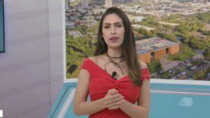 Marina Maimone no estúdio do Balanço Geral TO: jornalista é a nova contratada da VTV SBT (foto: Reprodução/TV Jovem)