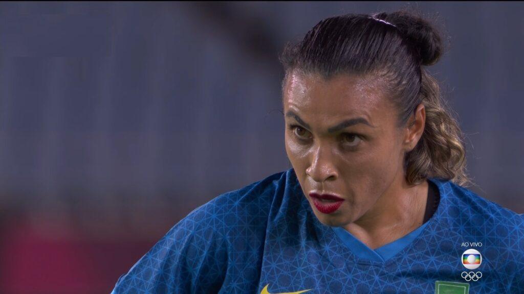 Marta foi um dos destaques da seleção brasileira: jogo turbinou audiência matinal da Globo (foto: Reprodução/TV Globo)