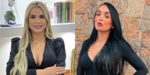 Deolane Bezerra, viúva de MC Kevin, e Evelin Gusmão, ex-namorada do funkeiro, armaram barraco na internet (foto: Reprodução)