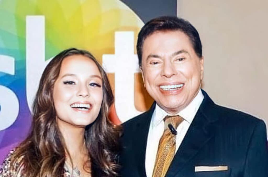 Larissa Manoela posa ao lado de Silvio Santos (foto: Divulgação)