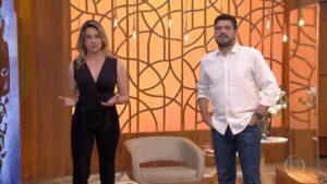 Fernanda Gentil e André Curvello substituíram Fátima Bernardes no Encontro (foto: Reprodução/Globo)