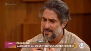 Marcos Mion chorou durante participação no Encontro (foto: Globo/Reprodução)