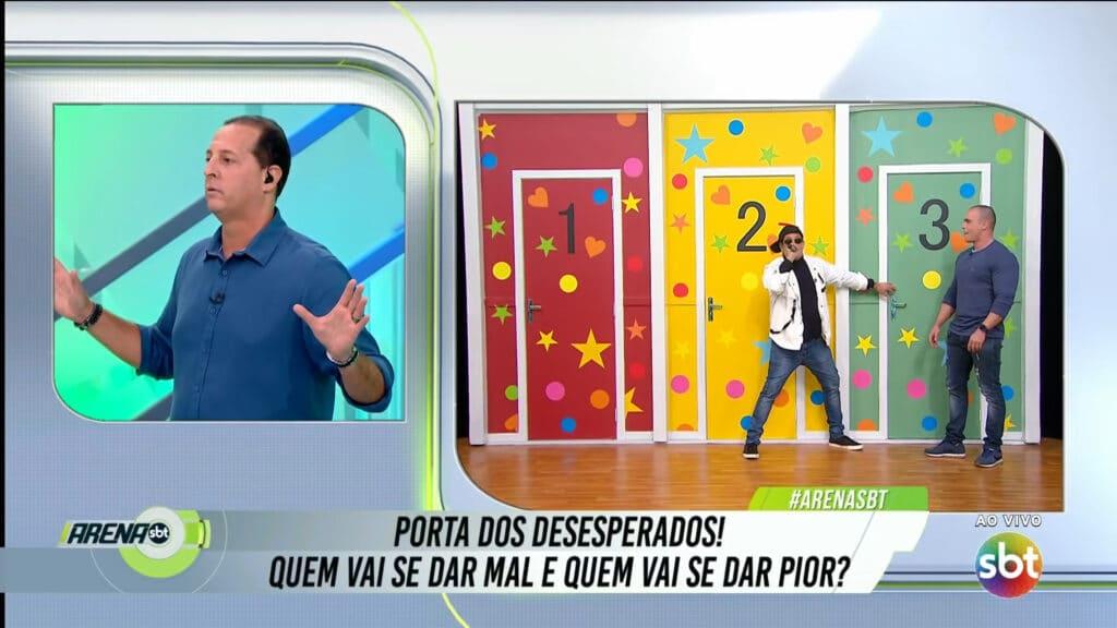 Sérgio Mallandro em participação especial no programa Arena SBT, apresentado por Benjamin Back (foto: SBT/Reprodução)