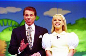 Silvio Santos e Eliana no palco do programa Topa Tudo por Dinheiro (foto: SBT/João Batista da Silva)