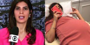 Andréia Sadi não desistiu de apurar notícias nem no trabalho de parto (foto: Reprodução)