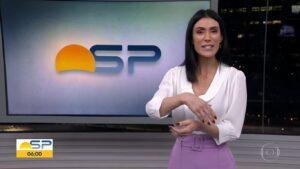 Michelle Barros está no comando do Bom dia SP desde julho (foto: Reprodução/TV Globo)