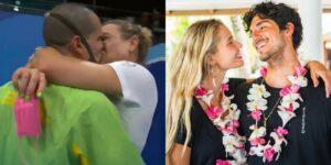 Bruno Fratus beijou a mulher Michelle Lenhardt após ganhar medalha; internet se lembrou de Gabriel Medina e Yasmin Brunet (foto: Reprodução)