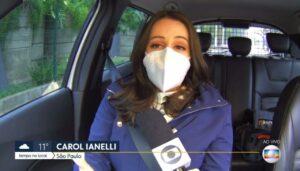 Carol Ianelli sofreu acidente segundos antes de entrar no Bom Dia SP (foto: Reprodução/TV Globo)