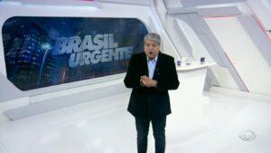 Datena ficou revoltado com reportagem reprisada durante o Brasil Urgente (foto: Reprodução/Band)
