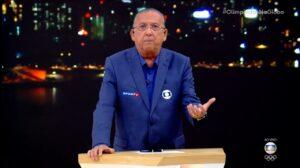 Galvão Bueno pediu desculpas aos telespectadores por erro na cerimônia de abertura olímpica (foto: Reprodução/TV Globo)
