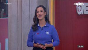 Lívia Laranjeira foi uma das convocadas para a cobertura no canal de notícias da Globo: mesma blusa por 17 dias (foto: Reprodução/GloboNews)