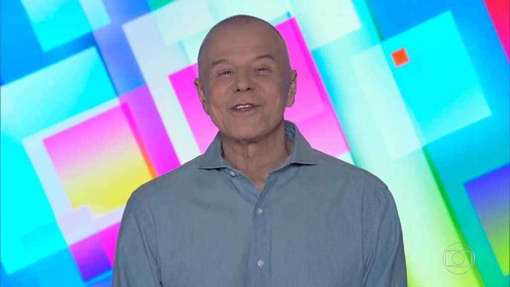Miguel Falabella na derradeira edição do Vídeo Show, em 11 de janeiro de 2019 (foto: Reprodução/TV Globo)