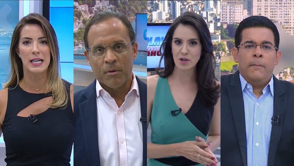 Jéssica Smetak, José Eduardo, Tiale Acrux e Adelson Carvalho estão em dança das cadeiras da Record na Bahia (foto: Reprodução/Record)
