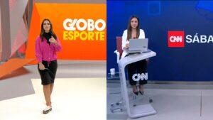 Stephanie Alves apresentou o Globo Esporte até 2020 e estreou como âncora da CNN Brasil (foto: Reprodução/TV Globo e CNN Brasil)