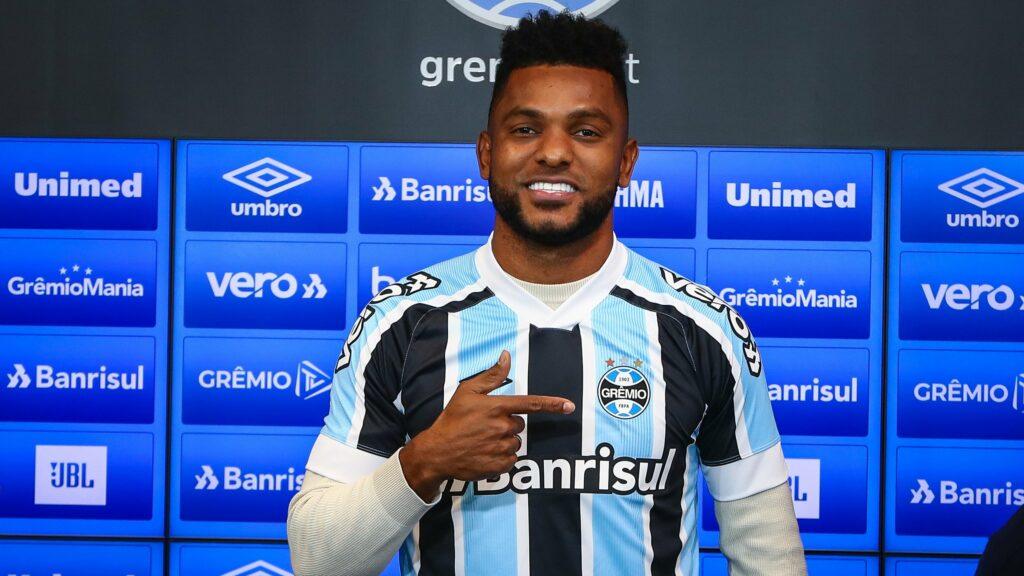 Grêmio apresentou o atacante Miguel Borja em agosto; SBT quer os direitos do Campeonato Gaúcho (foto: Lucas Uebel/Grêmio FBPA)