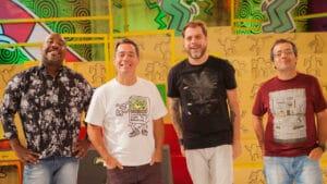 Apresentadores do Encrenca, Ângelo Campos, Tatola Godas, Dennys Motta e Ricardinho Mendonça estão de saída da RedeTV! após sete anos (foto: RedeTV!/Divulgação)