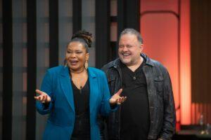 Margareth Menezes e Leo Jaime são os convidados do 12º episódio do MasterChef (foto: Band/Carlos Reinis)