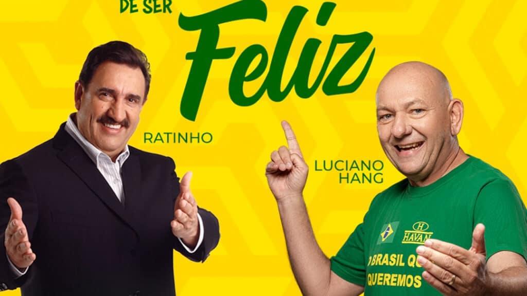 """Ratinho, do SBT, e Luciano Hang, dono da Havan, participam de live sobre lado positivo do """"jeitinho brasileiro"""" (foto: Reprodução)"""