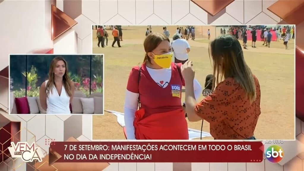 Vem Pra Cá repetiu recorde de audiência; Patricia Abravanel demostrou incomodo com grito de Fora Bolsonaro ao vivo (foto: Reprodução/SBT)